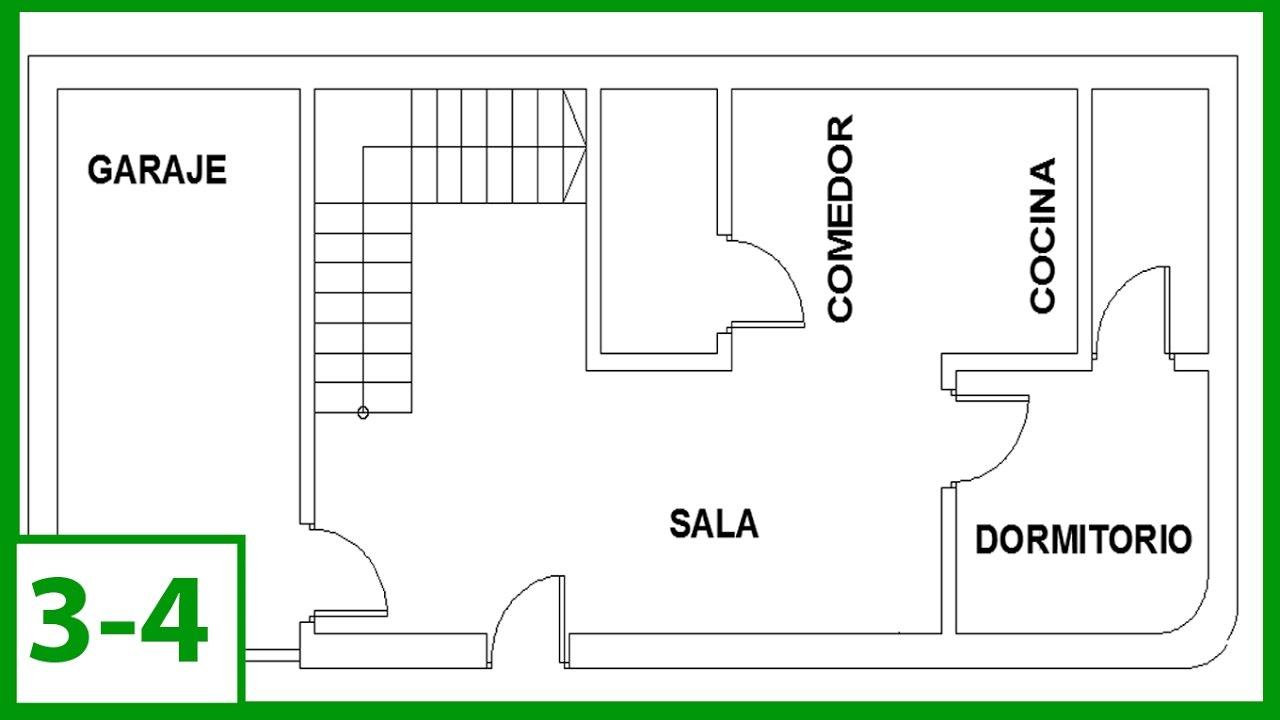 Autocad - Cómo Dibujar un plano de una casa  escalera y textos autocad  2015 -  (parte 34), dibujos de Escaleras En Un Plano, como dibujar Escaleras En Un Plano paso a paso