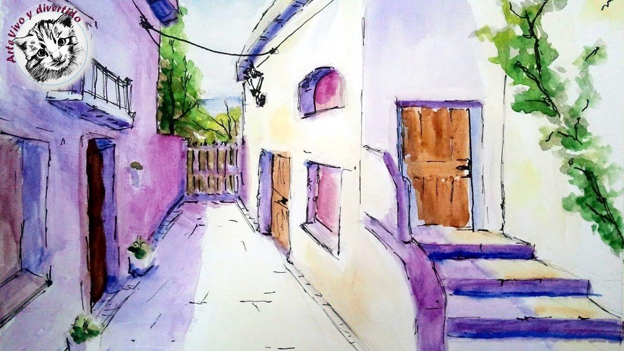 Como pintar con acuarela una calle de pueblo acuarela para principiante sombra y luz paso a paso, dibujos de En Acuarela, como dibujar En Acuarela paso a paso