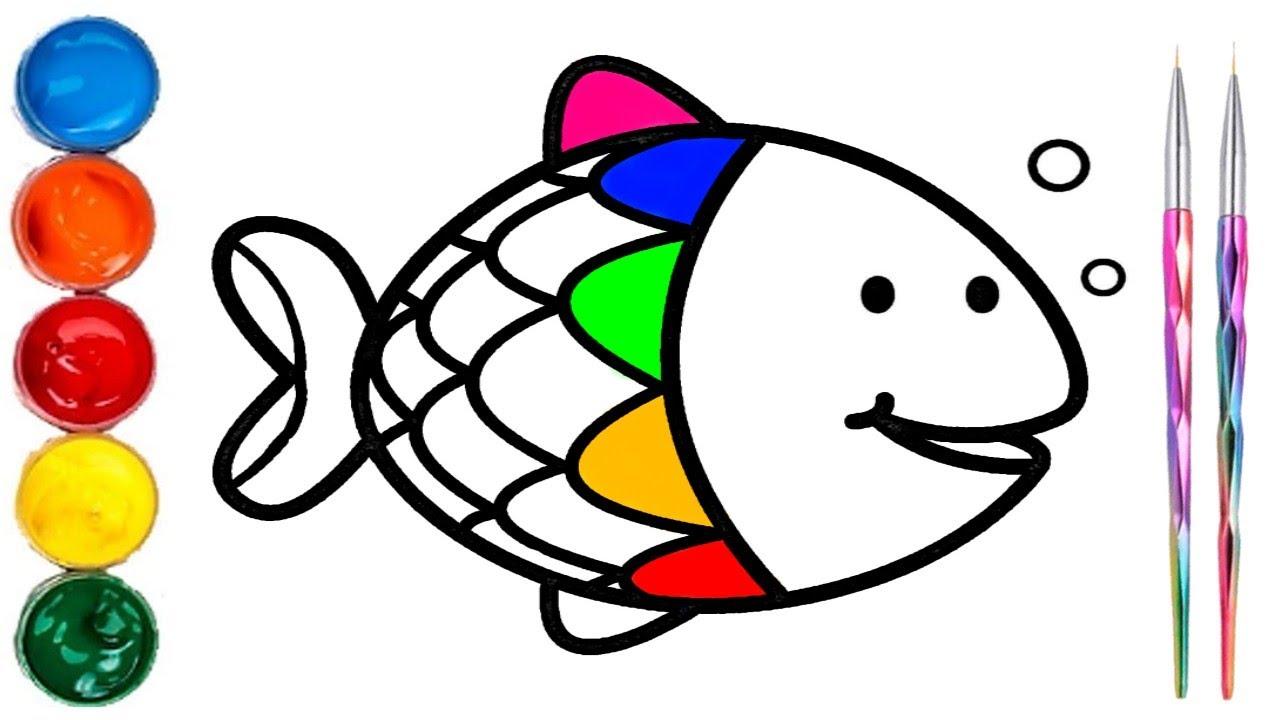 Como Dibujar y Colorear a un Pez de ArcoIris - Paso a Paso - Aprende los colores con Rotuladores, dibujos de El Pez Arcoiris, como dibujar El Pez Arcoiris paso a paso
