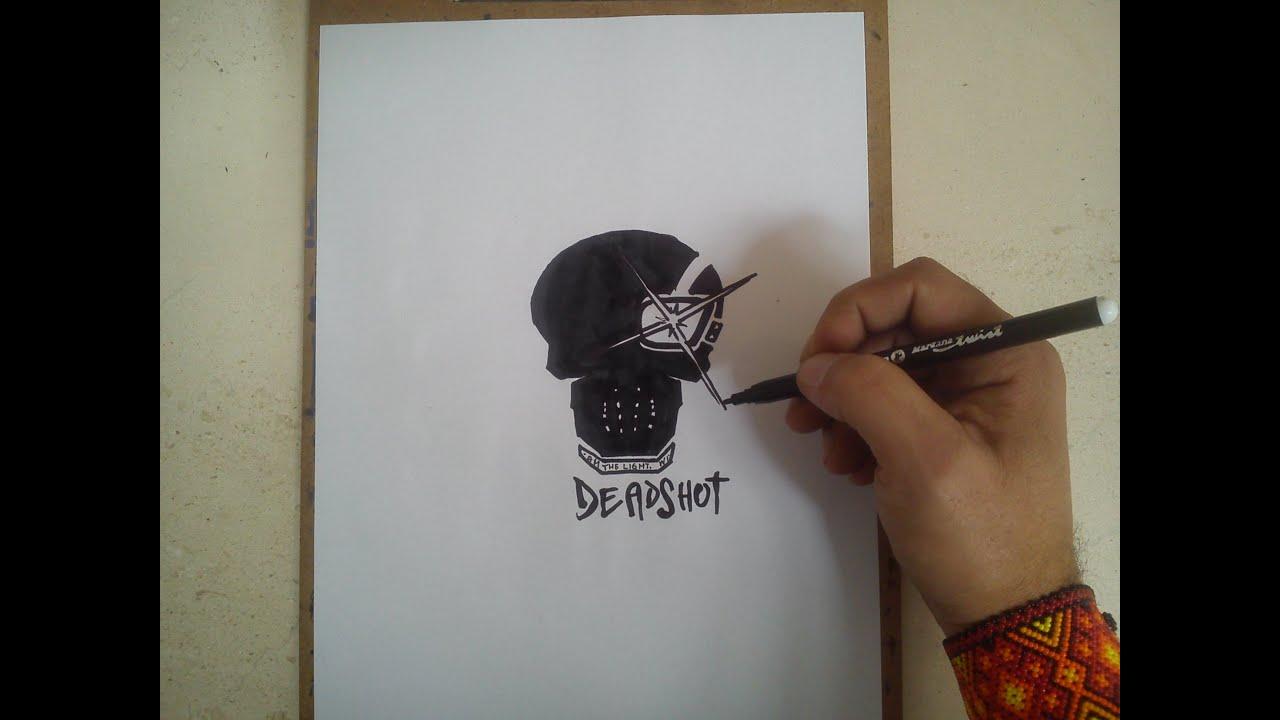 COMO DIBUJAR EL LOGO DE DEADSHOT - SUICIDE SQUAD  how to draw deadshot  logo - suicide squad, dibujos de El Logo De Deadshot De El Escuadron Suicida, como dibujar El Logo De Deadshot De El Escuadron Suicida paso a paso