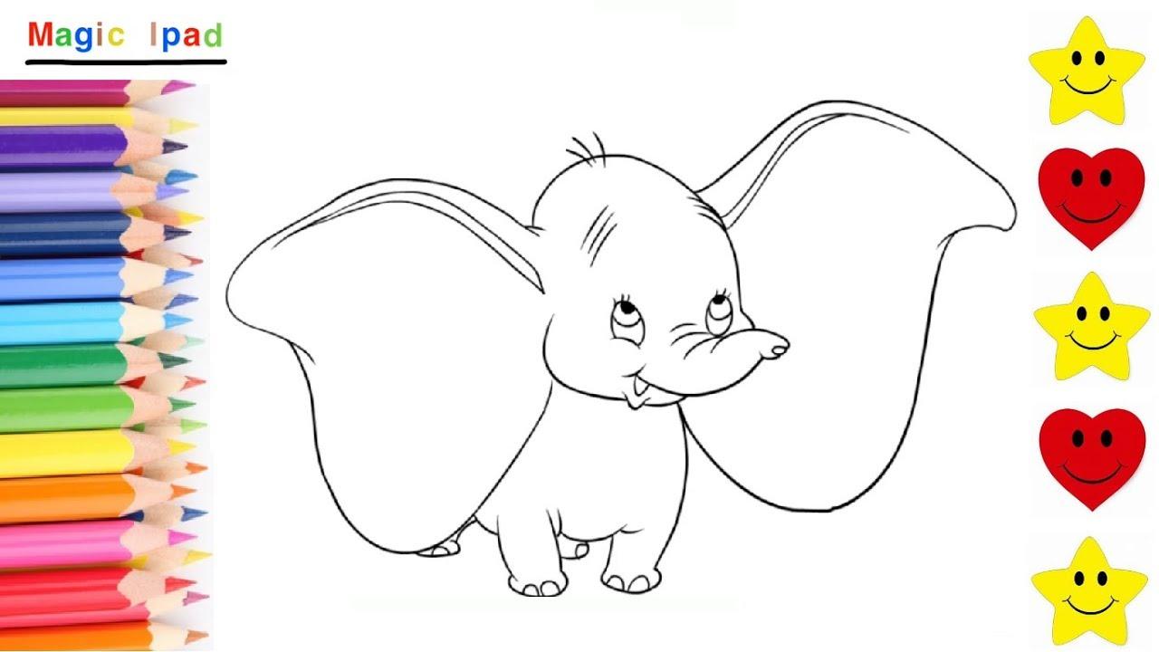 Como Dibujar a DUMBO  dibujos para niños 💓⭐ How to Draw DUMBO  drawings  for kids, dibujos de Dumbo, como dibujar Dumbo paso a paso