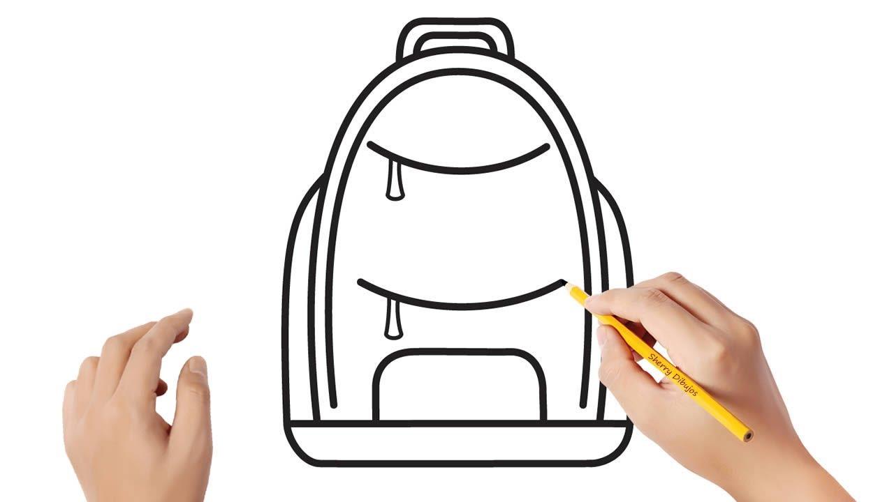 Cómo dibujar una mochila escolar  Dibujos sencillos, dibujos de Una Mochila, como dibujar Una Mochila paso a paso