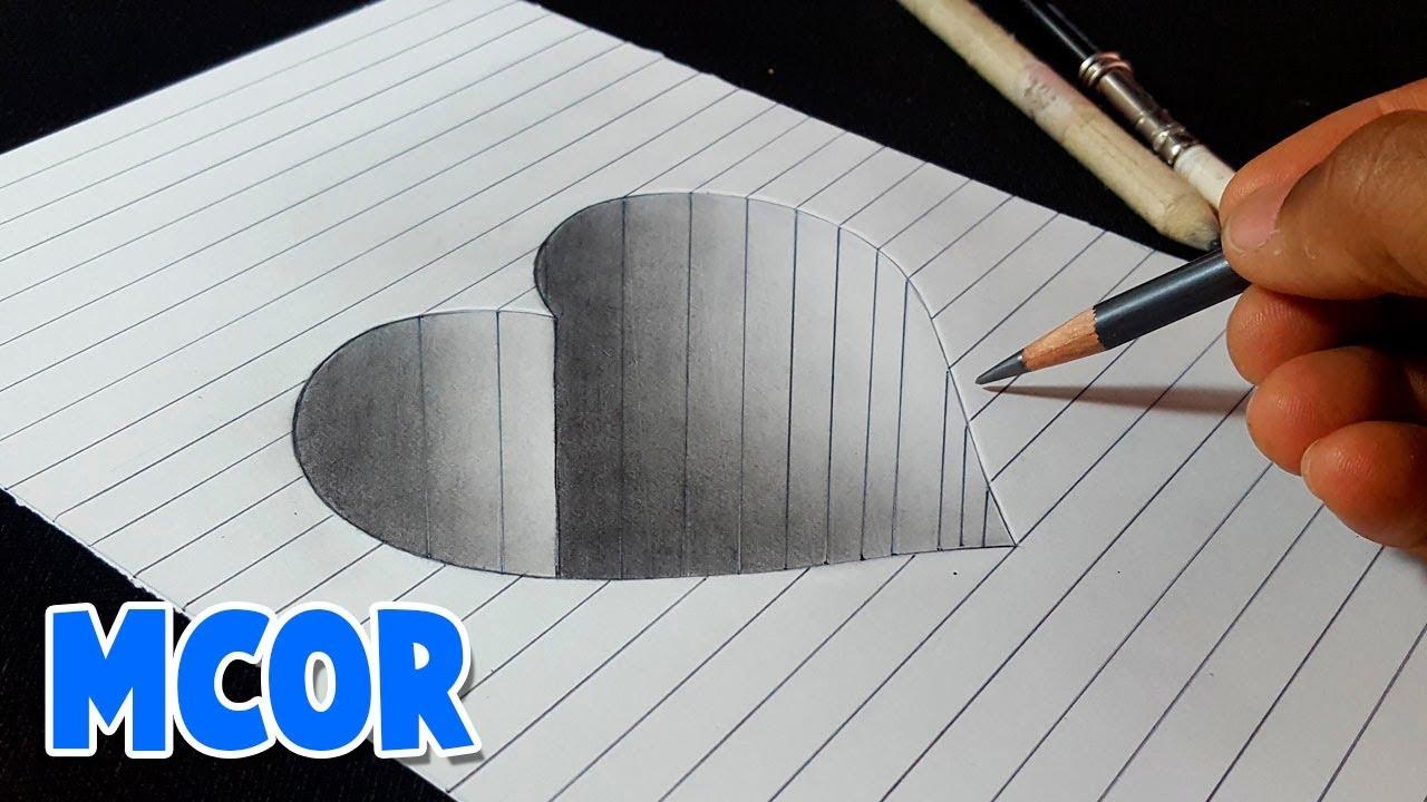 Como Dibujar un Corazón en Hueco 3D Paso a Paso, dibujos de En 3D, como dibujar En 3D paso a paso