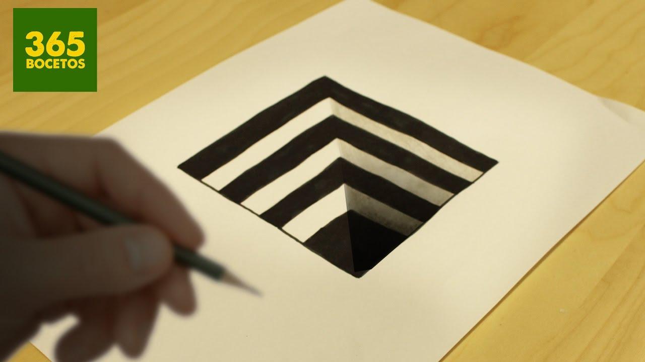 INCREIBLE TRUCO - Como dibujar un hoyo en 3D paso a paso - How to draw a 3d hole, dibujos de En 3D, como dibujar En 3D paso a paso