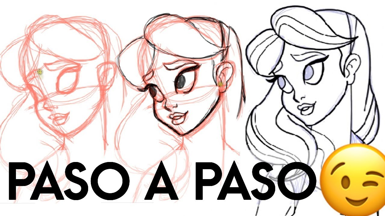 Aprende a Dibujar un Rostro estilo Disney  Paso a paso, dibujos de Disney, como dibujar Disney paso a paso
