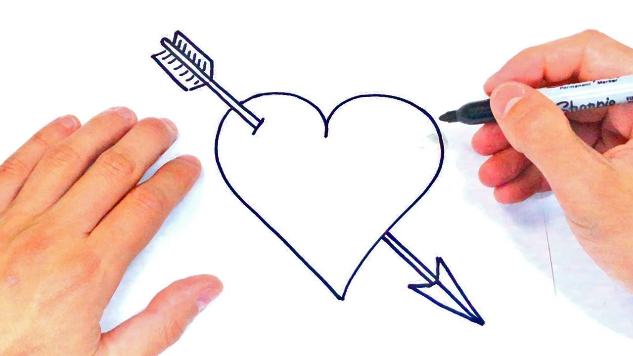 Como dibujar un Corazon y una Flecha Dibujos de Corazones, dibujos de Corazones, como dibujar Corazones paso a paso