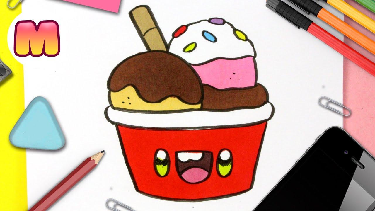 COMO DIBUJAR UN HELADO KAWAII - Dibujos kawaii faciles - Aprender a dibujar  comida kawaii, dibujos de Comida Kawaii, como dibujar Comida Kawaii paso a paso