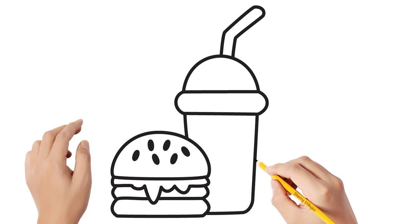 Cómo dibujar comida rápida Dibujos sencillos, dibujos de Comida, como dibujar Comida paso a paso