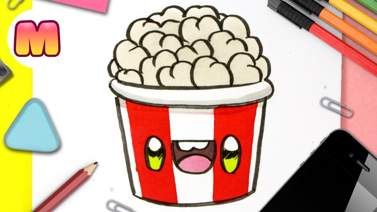 COMO DIBUJAR PALOMITAS KAWAII - dibujos kawaii facil - como dibujar comida  kawaii, dibujos de Comida Kawaii, como dibujar Comida Kawaii paso a paso