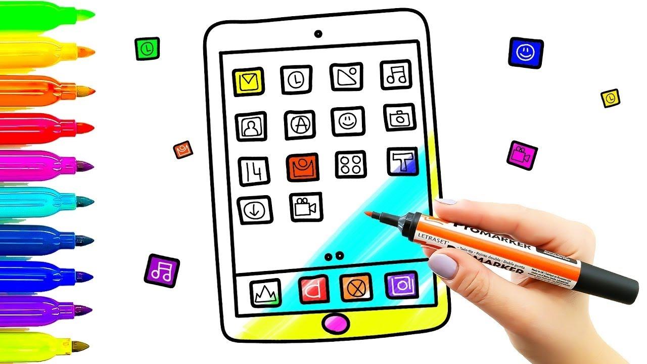 Tablet Game Kids dibujo y coloreado con marcadores de colores Cómo dibujar el teléfono, dibujos de Con Tablet, como dibujar Con Tablet paso a paso