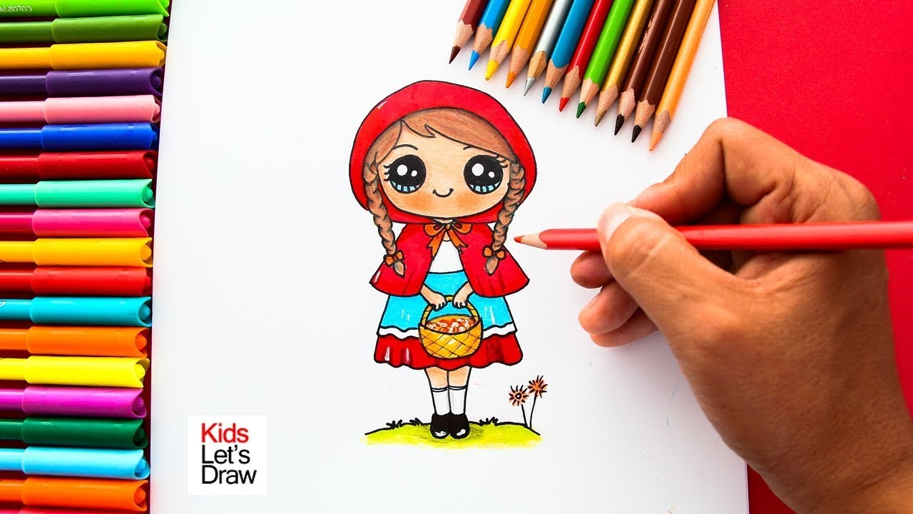 Cómo dibujar a CAPERUCITA ROJA de manera fácil  How to draw Little Red  Riding Hood, dibujos de Caperucita Roja, como dibujar Caperucita Roja paso a paso