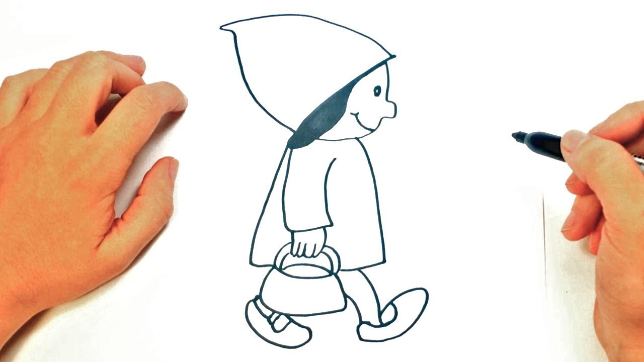 Como dibujar a Caperucita Roja  Dibujos Infantiles, dibujos de Caperucita Roja, como dibujar Caperucita Roja paso a paso