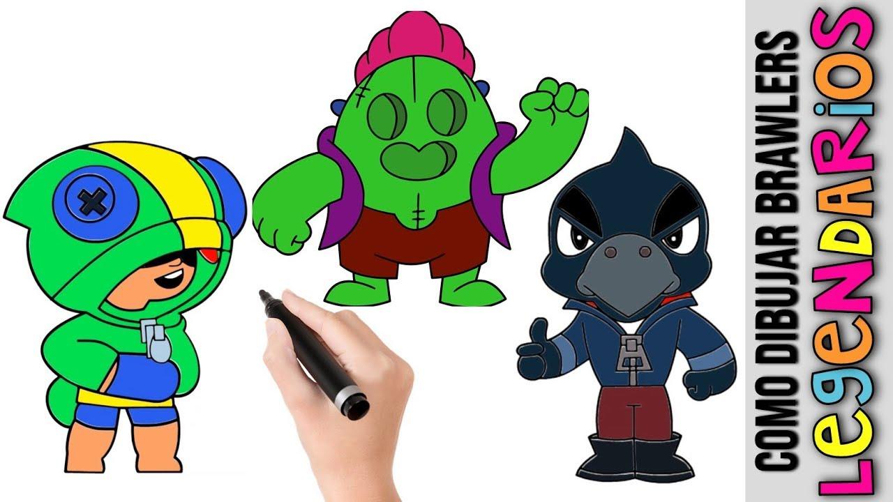 Como Dibujar Brawlers Legendarios Leon Spike Y Crow ★ Dibujos Fáciles ★  Mejores Brawlers, dibujos de Brawlers, como dibujar Brawlers paso a paso