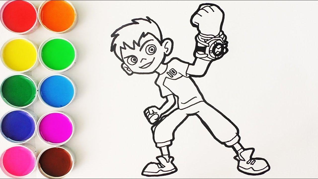 Cómo Dibujar y Colorear a Ben 10 - Dibujos Para Niños - Learn Colors   FunKeep, dibujos de Ben 10, como dibujar Ben 10 paso a paso
