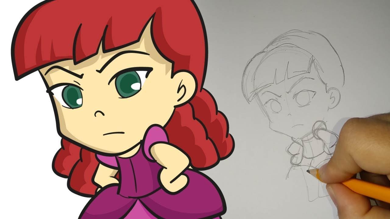 Cómo dibujar a Anastasia Chibi (Cenicienta), dibujos de Anastasia, como dibujar Anastasia paso a paso