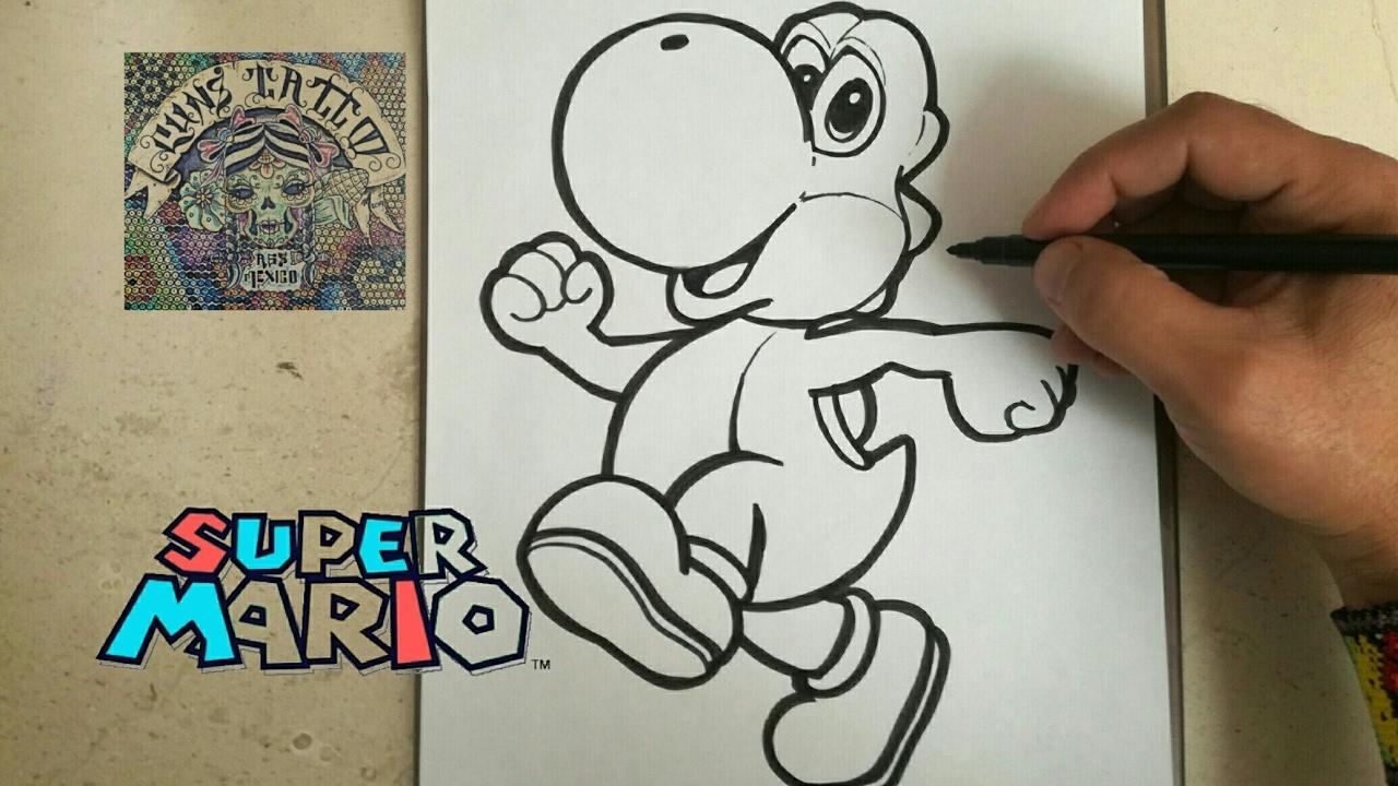 COMO DIBUJAR A YOSHI - MARIO BROS  how to draw yoshy - mario bros, dibujos de A Yoshi De Super Mario Bros, como dibujar A Yoshi De Super Mario Bros paso a paso