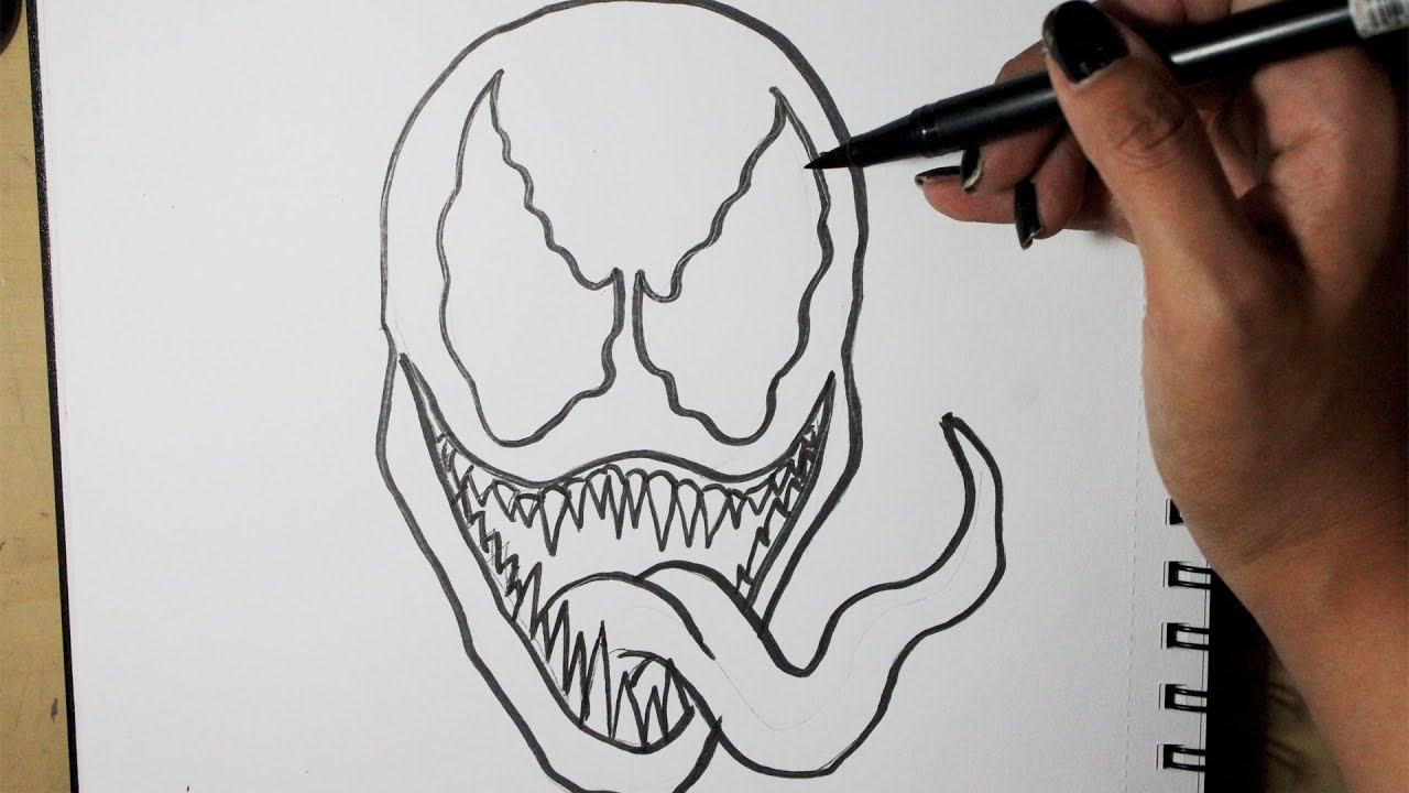 Cómo dibujar a VENOM PASO A PASO a lápiz  How to draw VENOM Step by step, dibujos de A Venom, como dibujar A Venom paso a paso