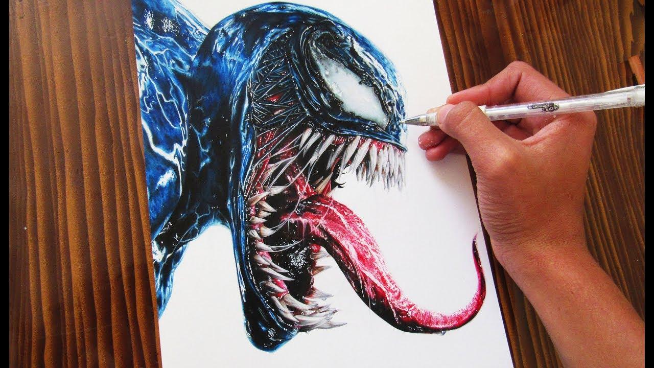 Cómo Dibujar a Venom Realista 2018  How to draw Realistic Venom  ArtiZ HD, dibujos de A Venom, como dibujar A Venom paso a paso