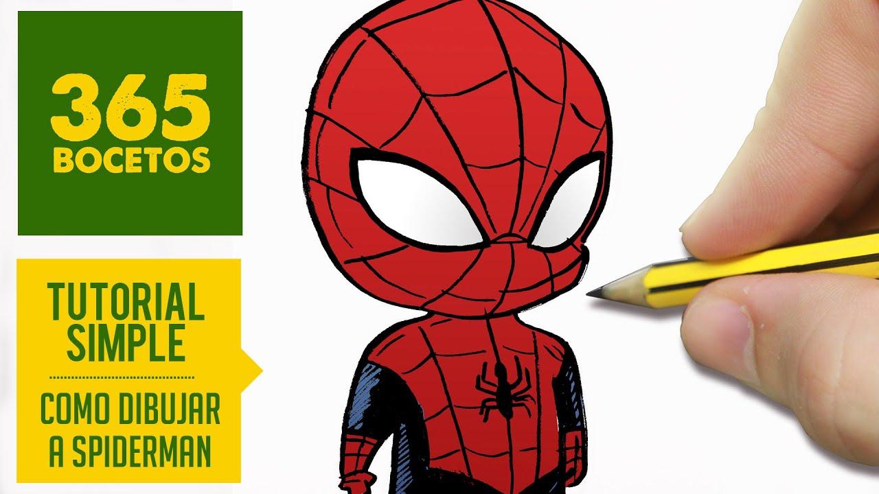 COMO DIBUJAR A SPIDERMAN Kawaii PASO A PASO - Dibujar kawaii facil - How to  draw Spiderman, dibujos de A Spiderman Kawaii, como dibujar A Spiderman Kawaii paso a paso