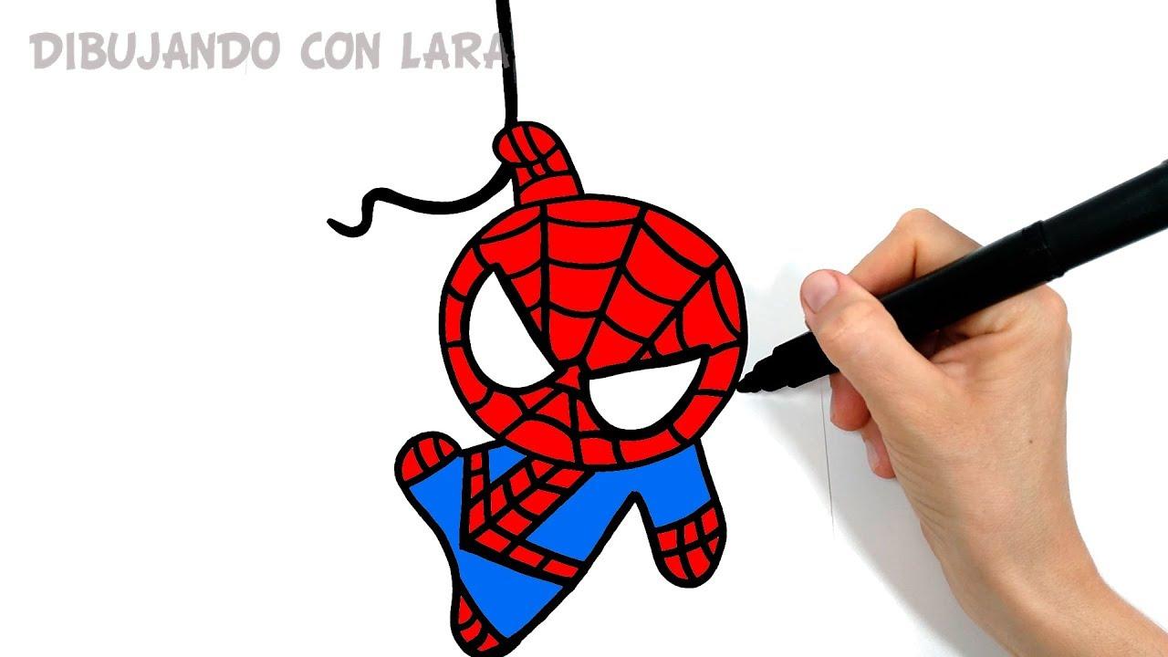 Como Dibujar a SPIDERMAN UN NUEVO UNIVERSO KAWAII, dibujos de A Spiderman Kawaii, como dibujar A Spiderman Kawaii paso a paso