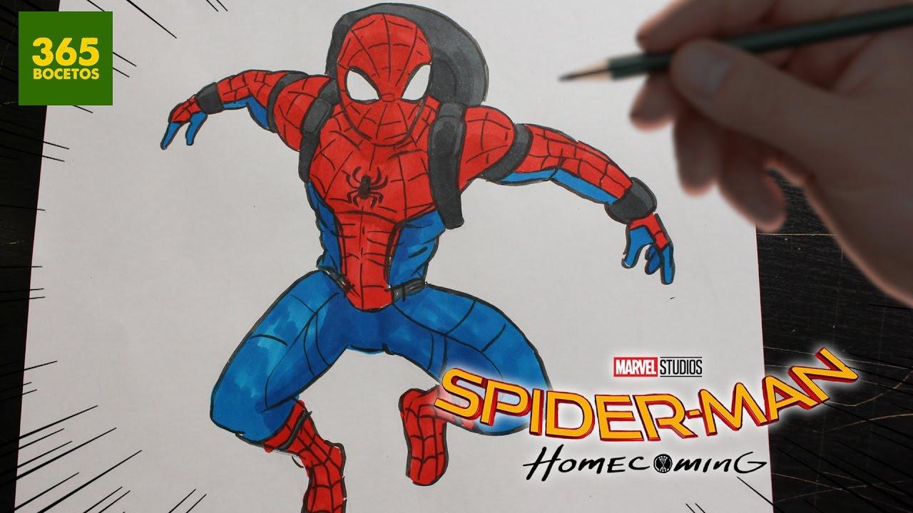 COMO DIBUJAR SPIDERMAN HOMECOMING - HOW TO DRAW SPIDER-MAN HOMECOMING, dibujos de A Spiderman, como dibujar A Spiderman paso a paso