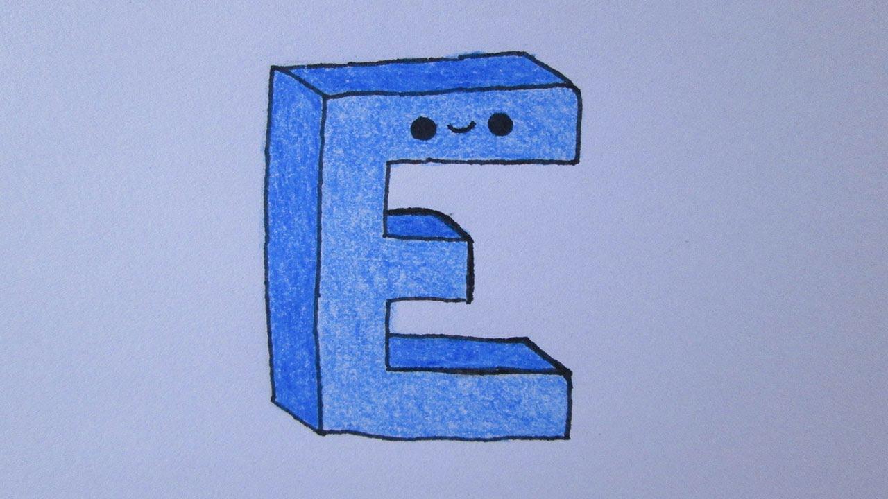 Cómo dibujar la letra E, dibujos de A Partir De La Letra E, como dibujar A Partir De La Letra E paso a paso