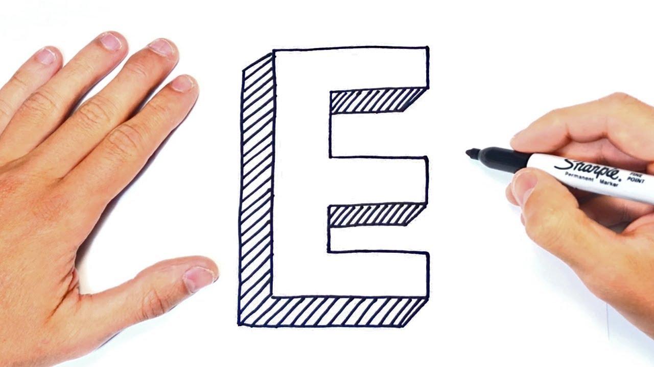 Como dibujar la Letra E paso a paso  Dibujo Letra E, dibujos de A Partir De La Letra E, como dibujar A Partir De La Letra E paso a paso