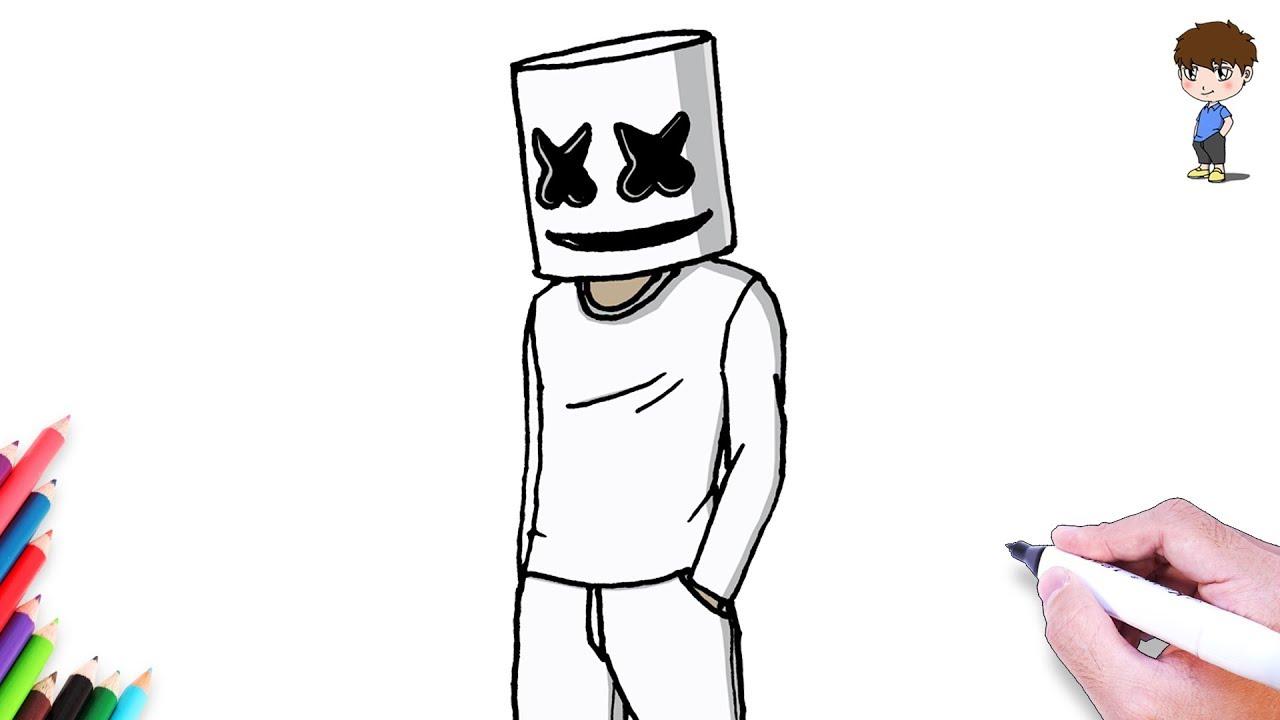 Como Dibujar a Marshmello Paso a Paso - Dibujos para Dibujar - Dibujos  Faciles, dibujos de A Marshmello, como dibujar A Marshmello paso a paso