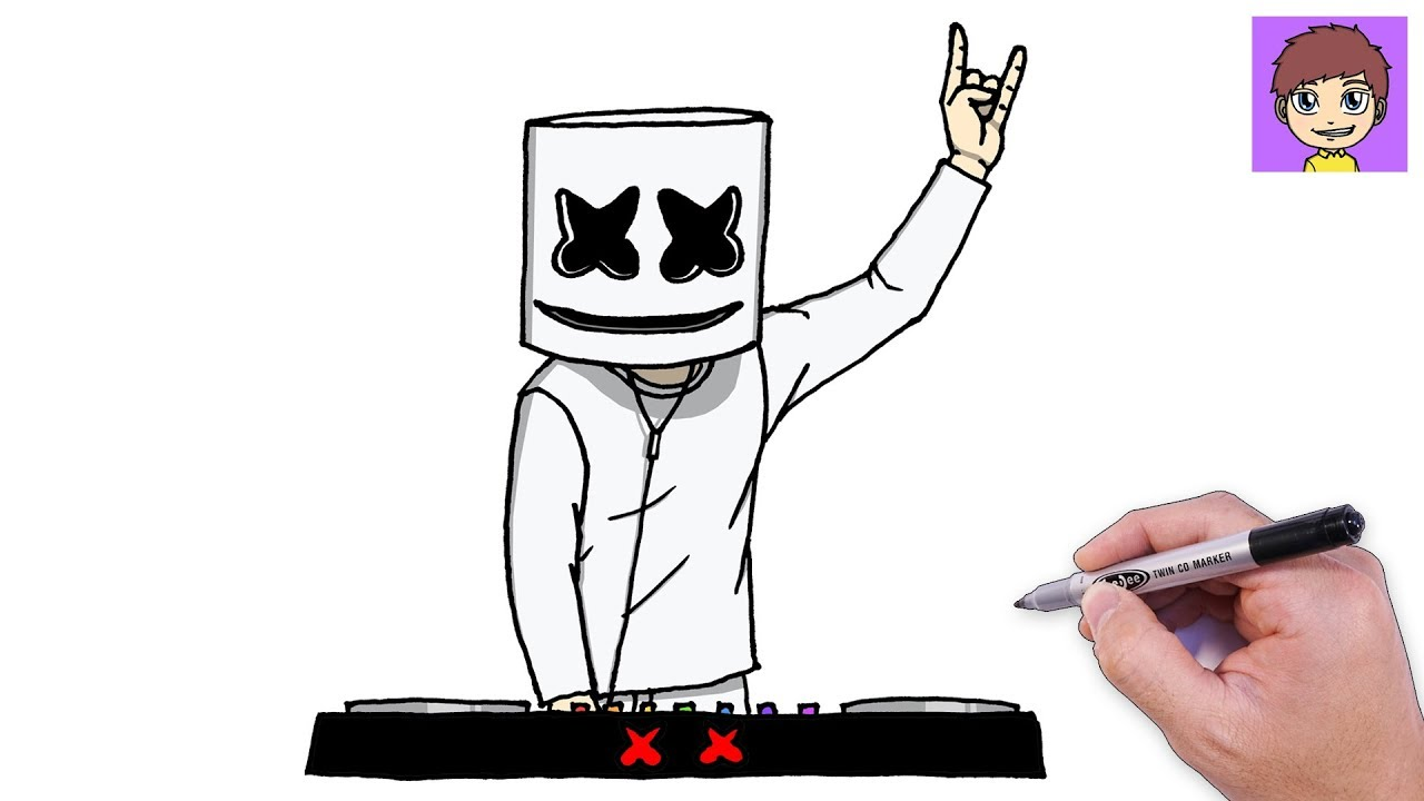 Como Dibujar a Marshmello DJ Paso a Paso - Dibujos para Dibujar - Dibujos  Faciles, dibujos de A Marshmello, como dibujar A Marshmello paso a paso