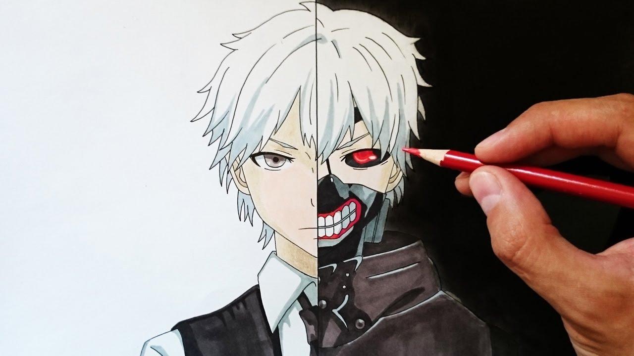 Cómo dibujar a Kaneki paso a paso - How to draw Kaneki step by step, dibujos de A Kaneki Ken De Tokyo Ghoul, como dibujar A Kaneki Ken De Tokyo Ghoul paso a paso