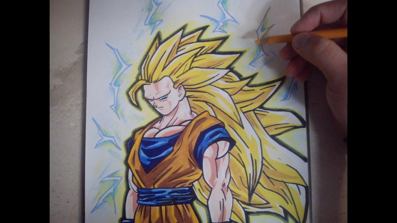 COMO DIBUJAR A GOKU SSJ3  how to draw goku ssj3, dibujos de A Gokú Ssj3, como dibujar A Gokú Ssj3 paso a paso