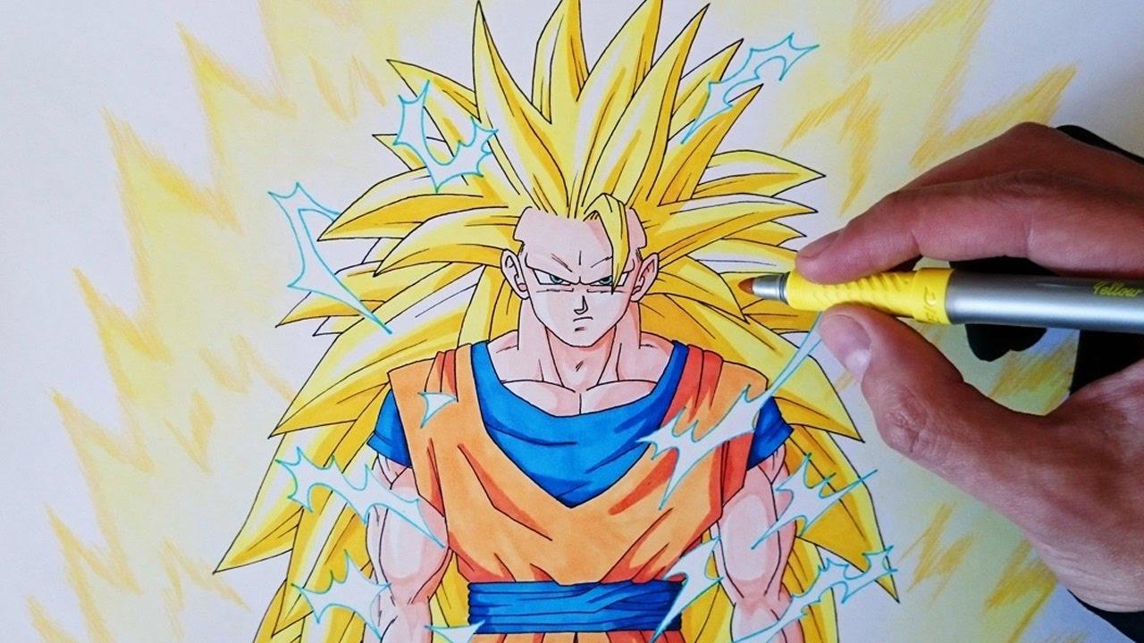 Cómo dibujar a Goku SSJ3 paso a paso - How to draw Goku SSJ3, dibujos de A Gokú Ssj3, como dibujar A Gokú Ssj3 paso a paso