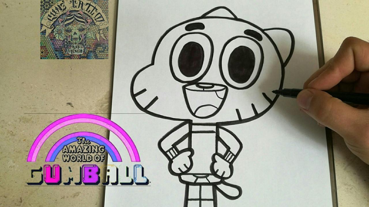 COMO DIBUJAR A GUMBALL - how to draw gumball, dibujos de A Gumball De El Asombroso Mundo De Gumball, como dibujar A Gumball De El Asombroso Mundo De Gumball paso a paso
