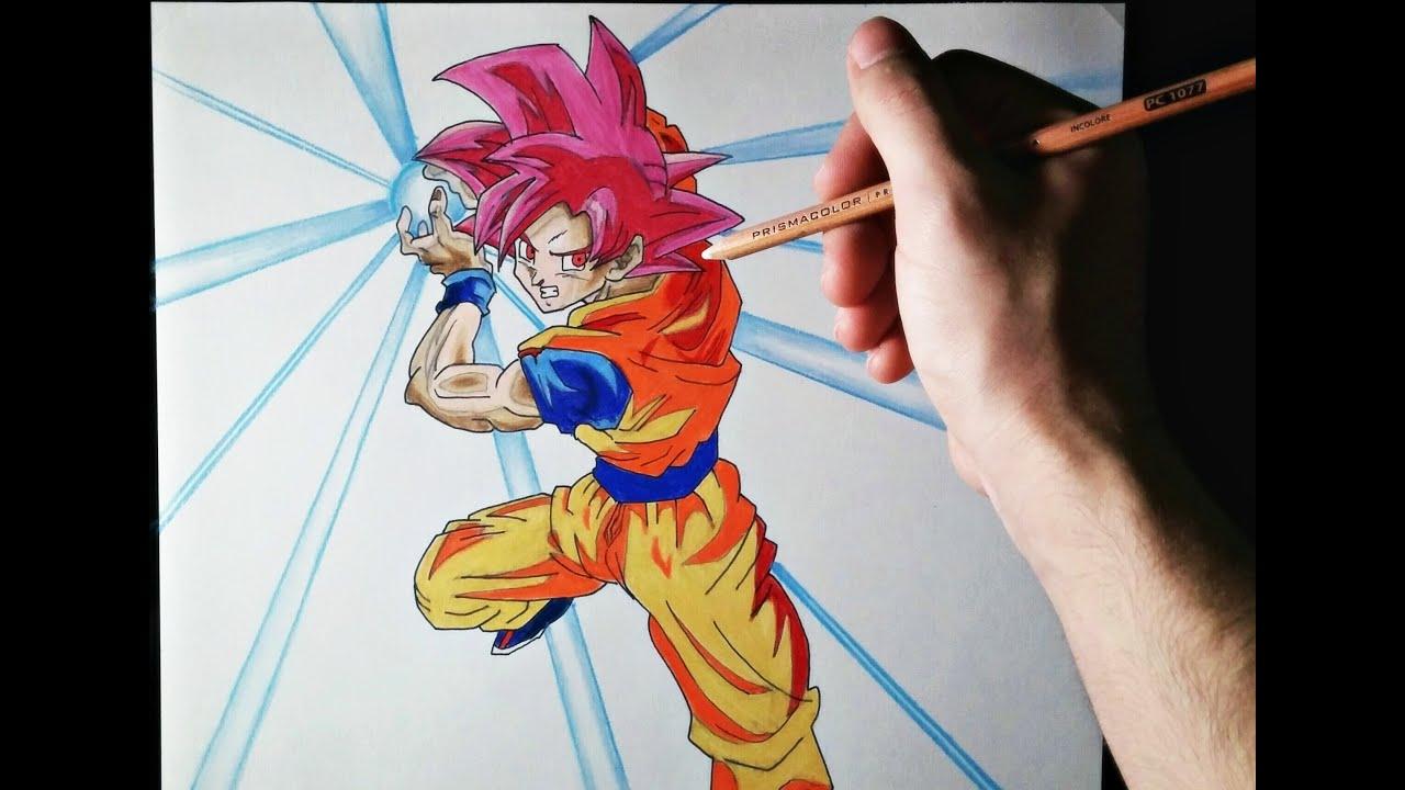 Cómo dibujar a Goku modo Dios  ArteMaster  How to draw Goku God Mode   Dragon Ball, dibujos de A Gokú Dios, como dibujar A Gokú Dios paso a paso
