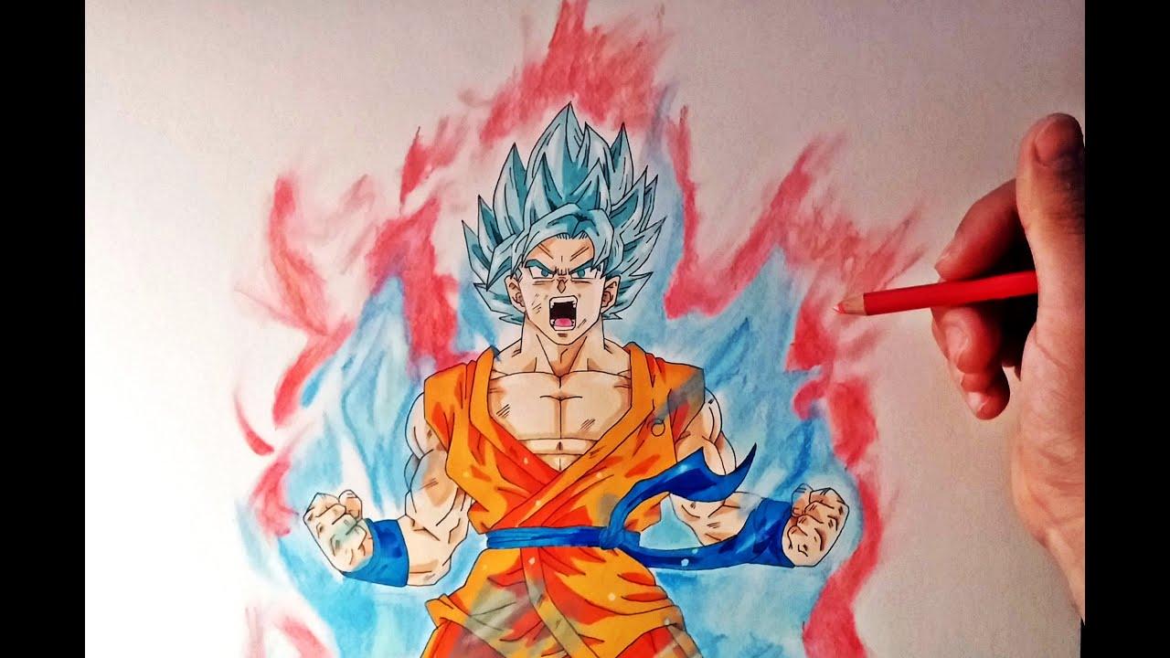 Cómo dibujar a Goku SSJ Dios Kaioken x10  How to draw Goku SSj God Kaioken  x10, dibujos de A Gokú Dios, como dibujar A Gokú Dios paso a paso