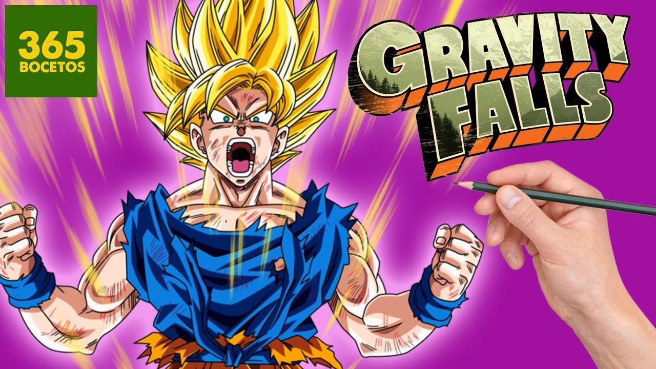 COMO DIBUJAR A GOKU SUPER SAIYAN ESTILO GRAVITY FALLS - DRAGON BALL ART  CHALLENGE, dibujos de A Gokú Al Estilo Gravity Falls, como dibujar A Gokú Al Estilo Gravity Falls paso a paso