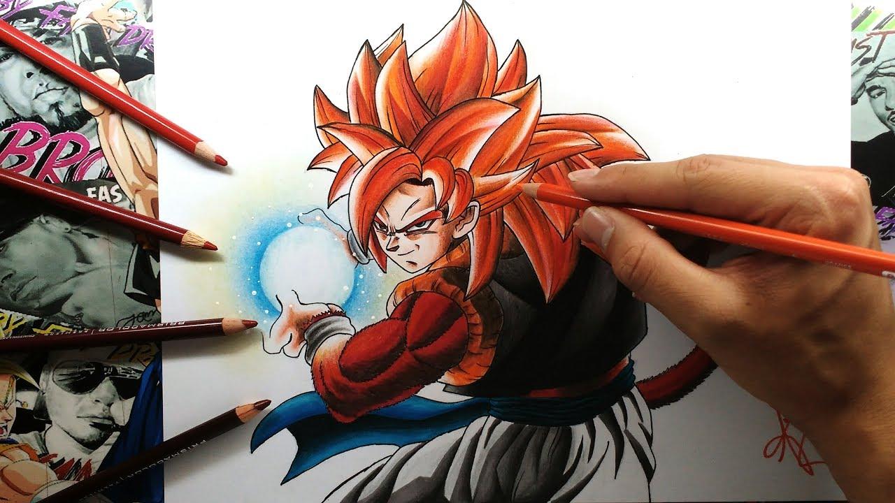 Dibujo de Gogeta SSJ4-Dragon Ball GT-Drawing Gogeta SSJ4  By Steven Builes, dibujos de A Gogeta Super Saiyan 4, como dibujar A Gogeta Super Saiyan 4 paso a paso