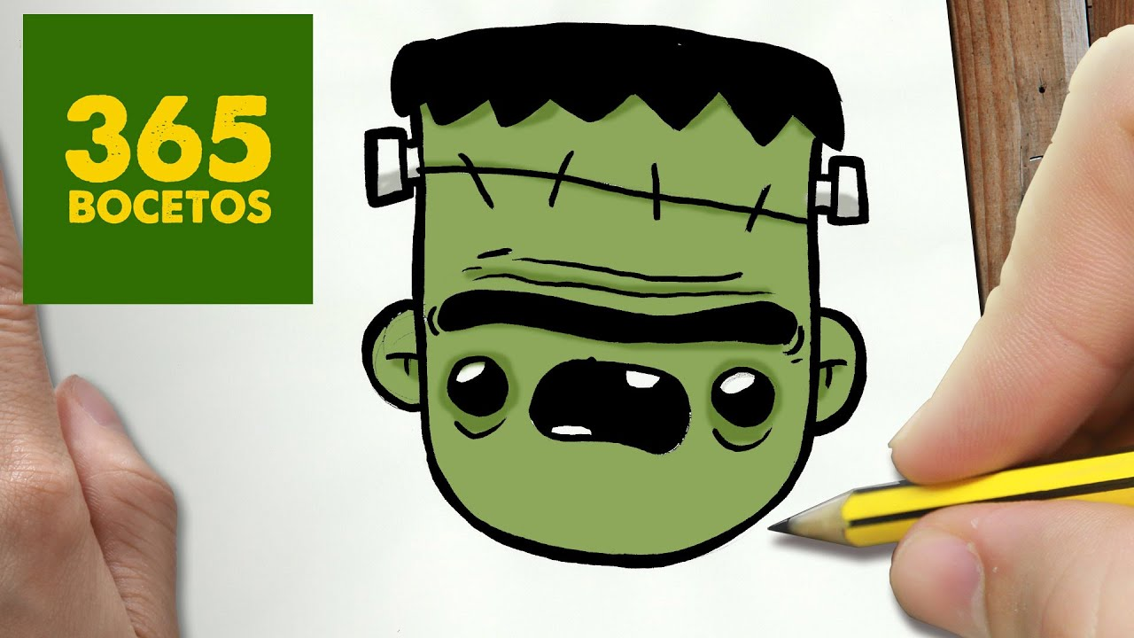 COMO DIBUJAR FRANKENSTEIN KAWAII PASO A PASO - Dibujos kawaii faciles - How  to draw a FRANKENSTEIN, dibujos de A Frankenstein Kawaii, como dibujar A Frankenstein Kawaii paso a paso