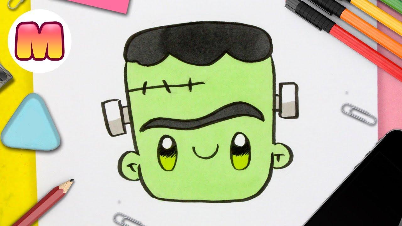 COMO DIBUJAR A FRANKENSTEIN KAWAII - Como dibujar Halloween kawaii -  Dibujos kawaii faciles a lapiz, dibujos de A Frankenstein Kawaii, como dibujar A Frankenstein Kawaii paso a paso