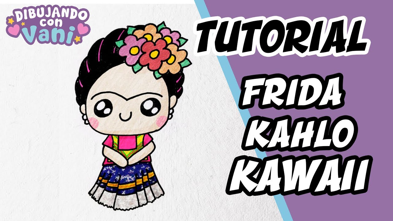 How to draw frida kahlo kawaii, dibujos de A Frida Kahlo, como dibujar A Frida Kahlo paso a paso