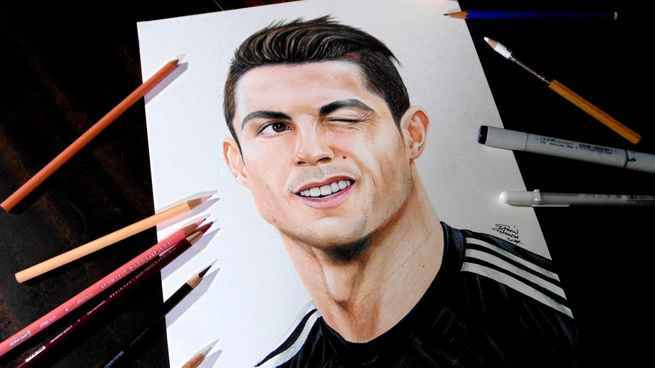 DIBUJANDO A CRISTIANO RONALDO - Trada Art, dibujos de A Cristiano Ronaldo, como dibujar A Cristiano Ronaldo paso a paso