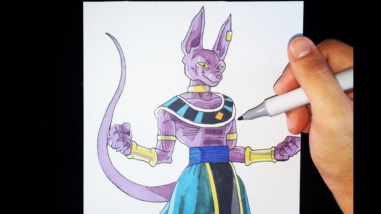 Cómo dibujar a Bills el dios de la destrucción  Tutorial Español  Dragon  ball Z, dibujos de A Bills De Dragon Ball, como dibujar A Bills De Dragon Ball paso a paso