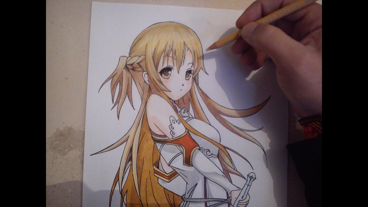 COMO DIBUJAR A ASUNA - SWORD ART ONLINE  how to draw asuna - sword art  online, dibujos de A Asuna, como dibujar A Asuna paso a paso