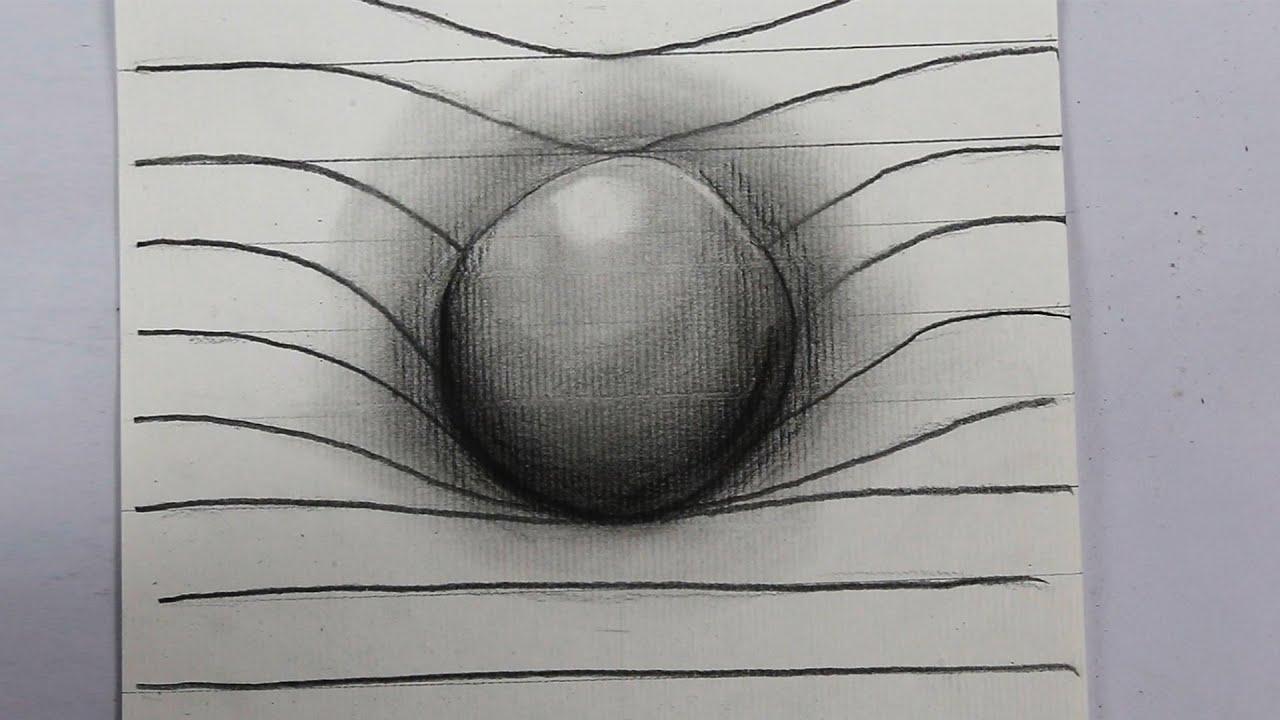 Cómo dibujar una esfera en 3D, dibujos de Una Esfera En 3D, como dibujar Una Esfera En 3D paso a paso