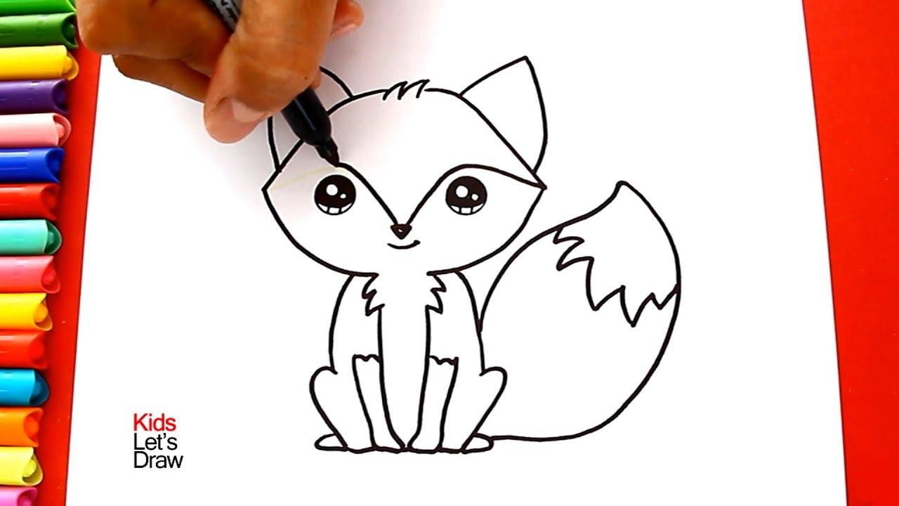How to draw and color a Fox kawaii  Learn Draw  KidsLetsDraw, dibujos de Un Zorro, como dibujar Un Zorro paso a paso