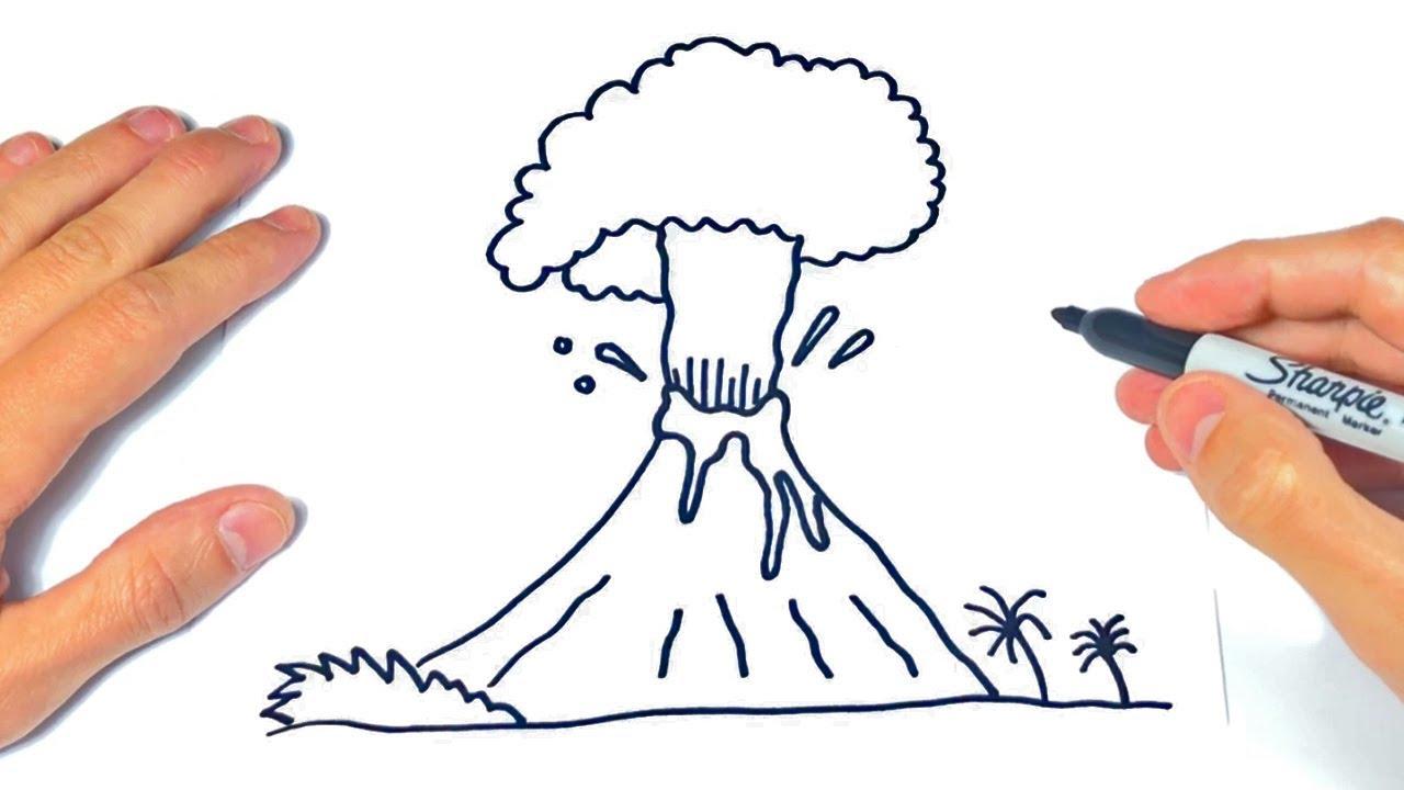 Cómo dibujar un Volcan Paso a Paso  Dibujo de Volcan, dibujos de Un Volcán, como dibujar Un Volcán paso a paso