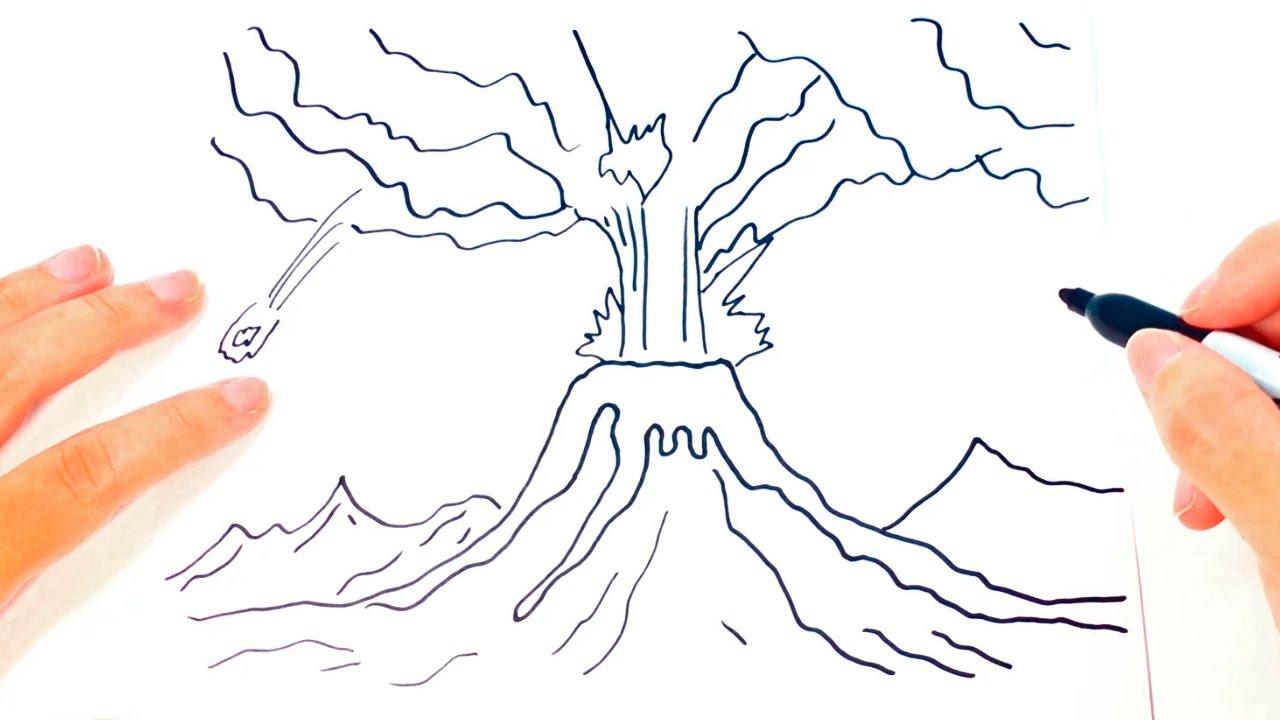 Cómo dibujar un Volcán paso a paso  Dibujo fácil de Volcán, dibujos de Un Volcán, como dibujar Un Volcán paso a paso