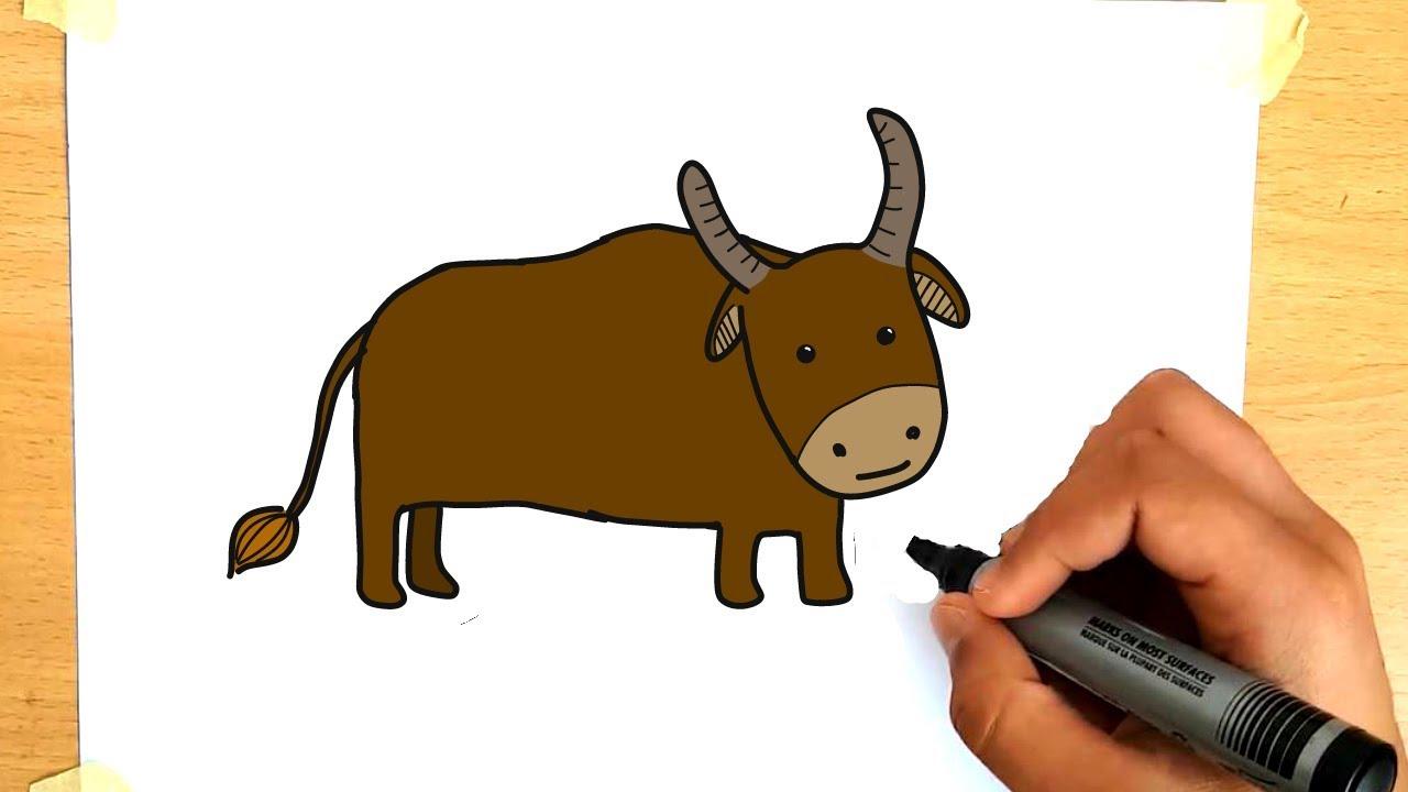 hor to draw a bull easy for kids, dibujos de Un Toro, como dibujar Un Toro paso a paso