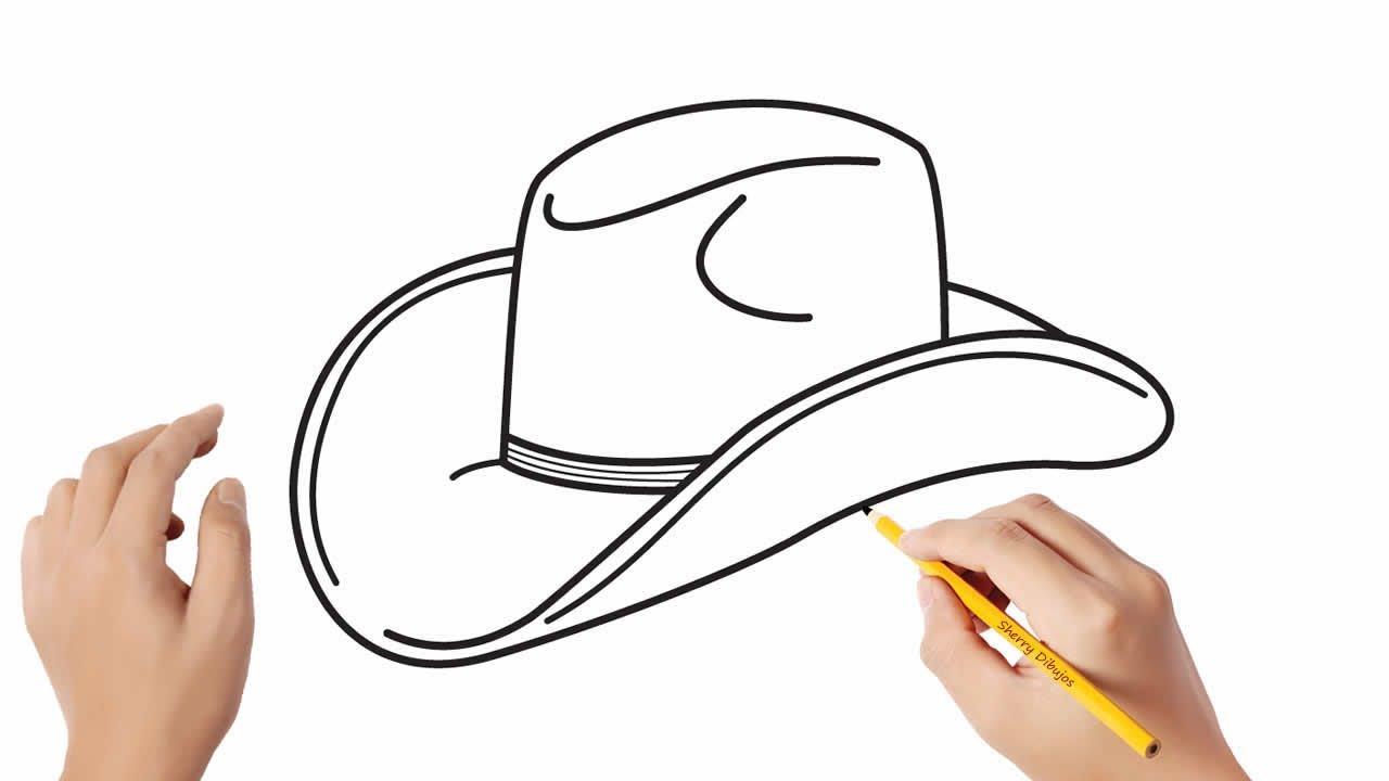 Cómo dibujar un sombrero de vaquero  Dibujos sencillos, dibujos de Un Sombrero, como dibujar Un Sombrero paso a paso