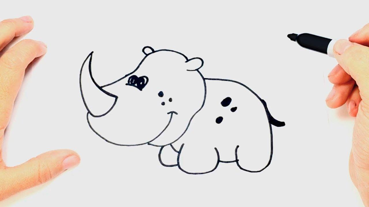 Cómo dibujar un Rinoceronte paso a paso  Dibujo fácil de Rinoceronte, dibujos de Un Rinoceronte, como dibujar Un Rinoceronte paso a paso